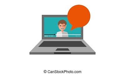 young man coaching video on screen laptop