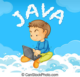 Young man coding JAVA on cloud illustration