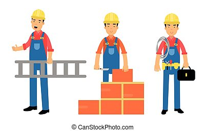 Young Man Constructor in Yellow Hard Hat and Blue Overall Carrying Ladder and Laying Bricks Vector Illustration Set