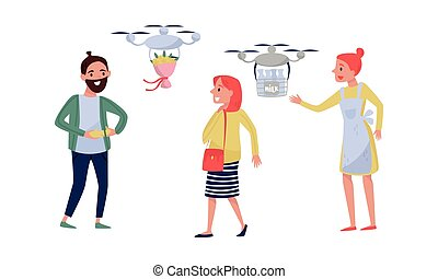 Young Man Controlling Drone Bringing Flower Bouquet and Woman Receiving Market Food Delivery by Air Vector Illustration Set