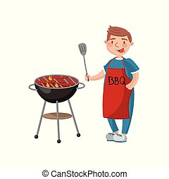 Young man cooking meat on the barbecue grill cartoon vector Illustration