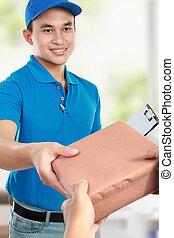 man courier in blue uniform