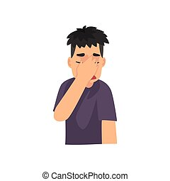 Young Man Covering Her Face with Hand, Guy Making Facepalm Gesture, Shame, Headache, Disappointment, Negative Emotion Vector Illustration