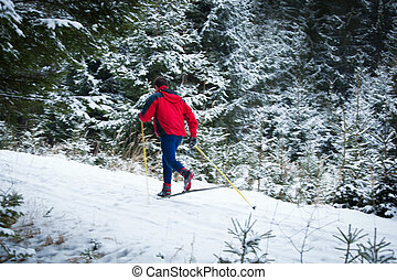 young man cross-country skiing on a snowy forest trail (motion blurred & color toned image)