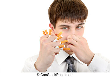 Man Crushing a Cigarettes