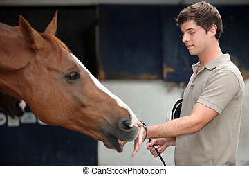 Young man cuddling a horse