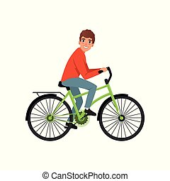 Young man cycling his bike, active lifestyle concept vector Illustrations on a white background