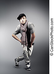 man - Young man dancing hip-hop at studio.