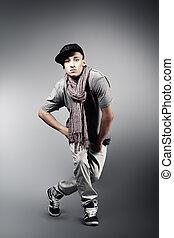 man - Young man dancing hip-hop at studio.