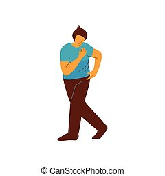 Young Man Dancing, Male Dancer Character Vector Illustration