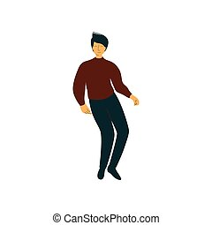 Young Man Dancing, Male Dancer Character Wearing Casual Clothes Vector Illustration