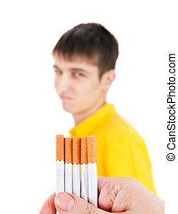 Young Man deny a Cigarettes