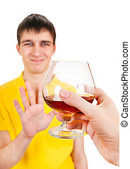 Young Man deny an Alcohol