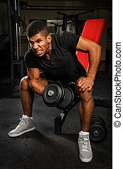 young man doing biceps curl workout in gym