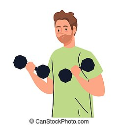 young man doing exercises with dumbbells, exercise sport recreation