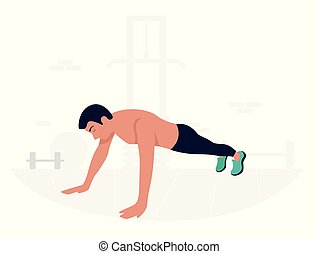Young man doing plank exercise. Core workout.