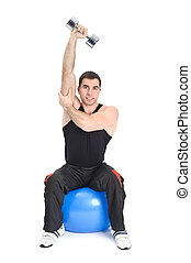 Young man doing Seated Dumbbell One Arm Triceps Extensions on Fitnes Ball, phase 2 of 2.