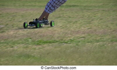 Young Man Doing Some Land Surfing - A young man doing some...