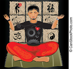 Young man doing yoga. Meditation.