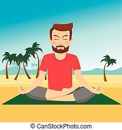 Young man doing yoga on a mat at tropical beach - Young man ...