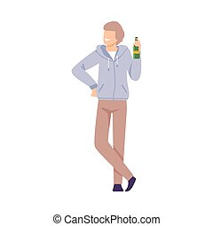 Young Man Drinking Beer at BBQ Party or Picnic, Summer Vacation, Outdoor Leisure Flat Style Vector Illustration
