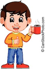 young man drinking coffee