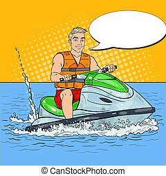 Young Man Driving Jet Ski. Extreme Water Sports. Pop Art vector illustration
