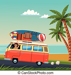 Young man driving surf van to the beach