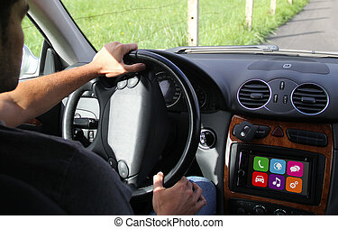 young man driving with digital dashboard
