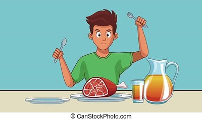 Young man eating HD animation