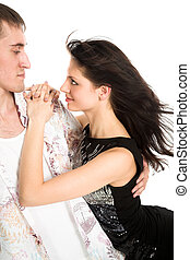Young man embrace woman on white background