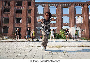 Young man ending off his hip hop dance - Young African...