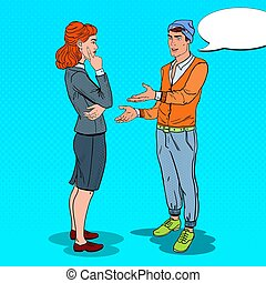 Young Man Expaining his New Idea to Business Woman in Office. Pop Art vector illustration