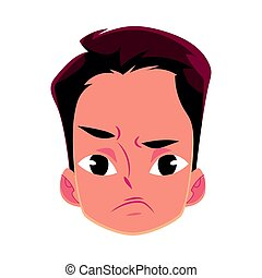 Young man face, angry facial expression