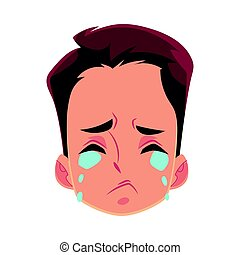 Young man face, crying facial expression