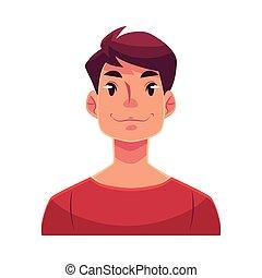 Young man face, neutral facial expression