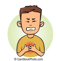 Young man feeling chest pain. Angina, heart attack. Colorful flat vector illustration. Isolated on white background.