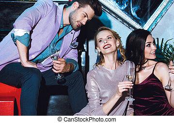 man flirting with beautiful women
