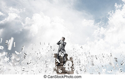 Young man floating in sky and do not want to see anything