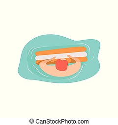 Young man floating on water in swimming pool, top view vector Illustration on a white background