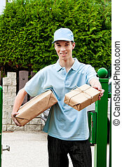 young man from package courier brings