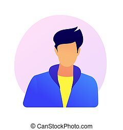 Young man full face portrait. Company worker ID, driver licence, passport design element. Male character icon, faceless social network avatar. Vector isolated concept metaphor illustration