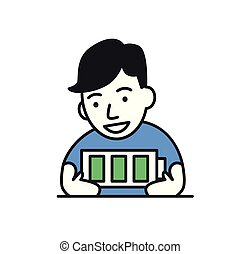 Young man full of energy, fully charged battery. Flat vector illustration. Isolated on white background.