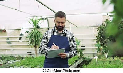 Young man gardener in a large greenhouse. - Young man...