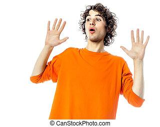 young man gesturing surprised fear afraid portrait