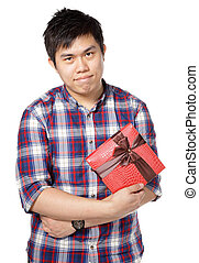 young man give gift
