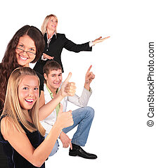 Young man gives gesture - people group gesturing showing