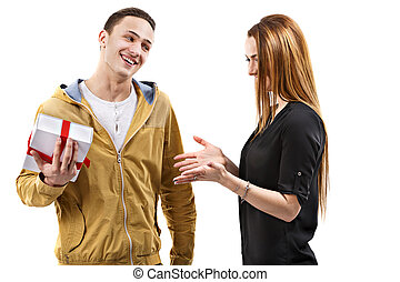 young man gives gift, valentines day theme