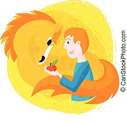 Vector Illustration with young man giving an apple to horse.