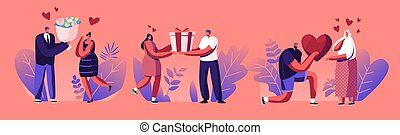 Young Man Giving Present to Happy Surprised Woman on Valentines Day or Birthday. Human Relations, Loving Couple Gift. Male and Female Characters Friendship or Love. Cartoon Flat Vector Illustration